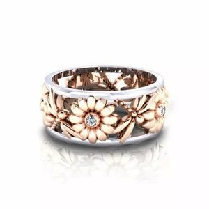 Dragonfly and Sunflower ring